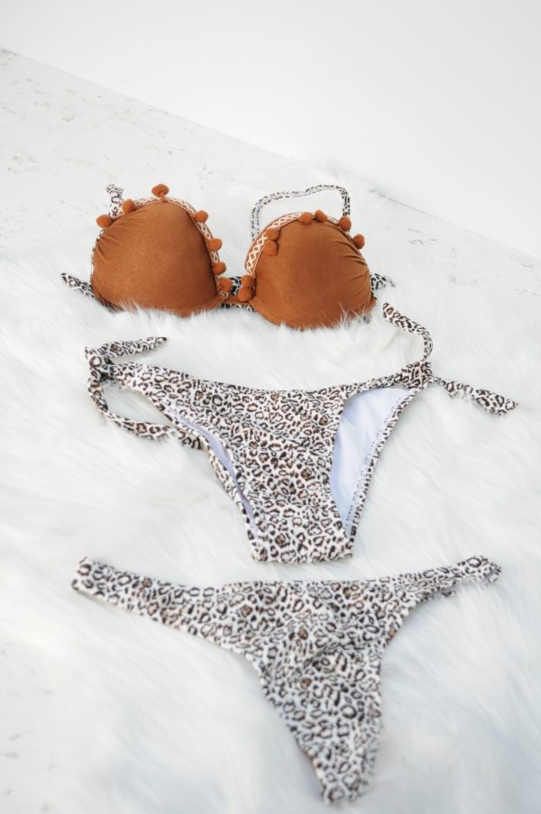 Costum de baie animal print maro